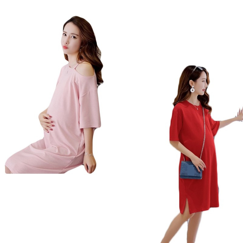Maternity Dresses for Pregnant Women Cotton Dress Summer Pregnancy Clothes Sexy A-line T Shirt Dress for pregnancy women
