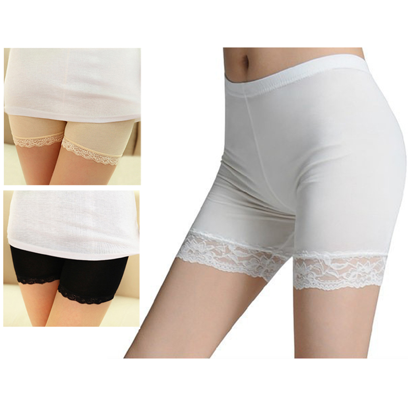 Women Elastic Short   Leggings   Under Pants Bottoming   Legging   Lace-trimmed WOMJL0014