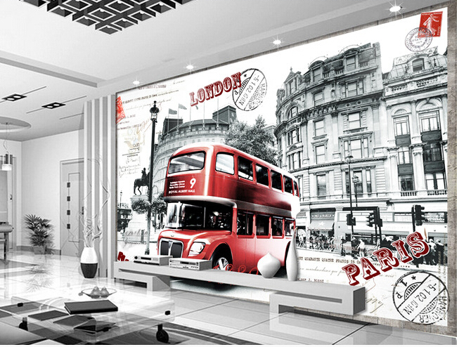 buy custom retro wallpaper mural red london bus for the living room tv wall. Black Bedroom Furniture Sets. Home Design Ideas