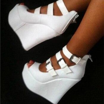 Olomm Women Platform Pumps Sexy Thin High Heels Pumps Nice Peep Toe Elegant White Black Party Shoes Women Plus US Size 5-15
