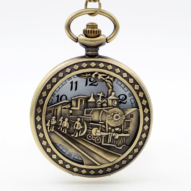 Antique Hollow Old Train Quartz Pocket Watch Necklace Chain Pendant for Mens Wom