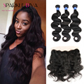 Peruvian Human Hair With Closure Body Wave Ear To Ear Lace Frontal With 3 Bundle Lace Front Closure With Bundles HC Product Hair