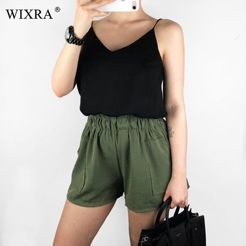 Wixra High Waist Loose   Shorts   Elastic Waist Summer Women Casual Pockets Trendy   Shorts   For Lady 2019 New Hot