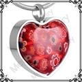 MJD8470 Millefiori Corazón Rojo Joyería de Cremación Urna Para Las Cenizas Monumentos Colgantes