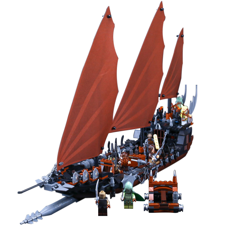 16018 LEPIN Lord of the Rings The Ghost Pirate Ship Model Building Blocks Enlighten Figure Toys For Children laying the ghost