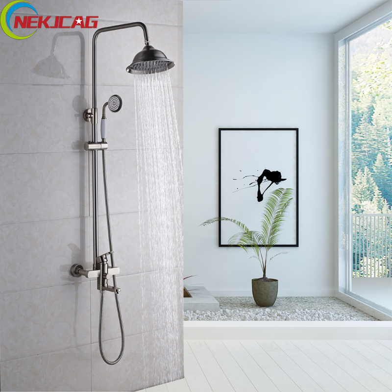 Rain Waterfall Shower Faucet with Hand Shower Tub Spout Wall Mounted Hand Shower