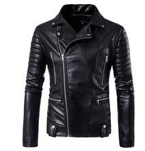 New Retro Vintage Motorcycle Jackets PU Leather Men Slash Zipper Moto Jackets Lapel Biker Faux Leather Riding Jacket Size M-5XL недорого