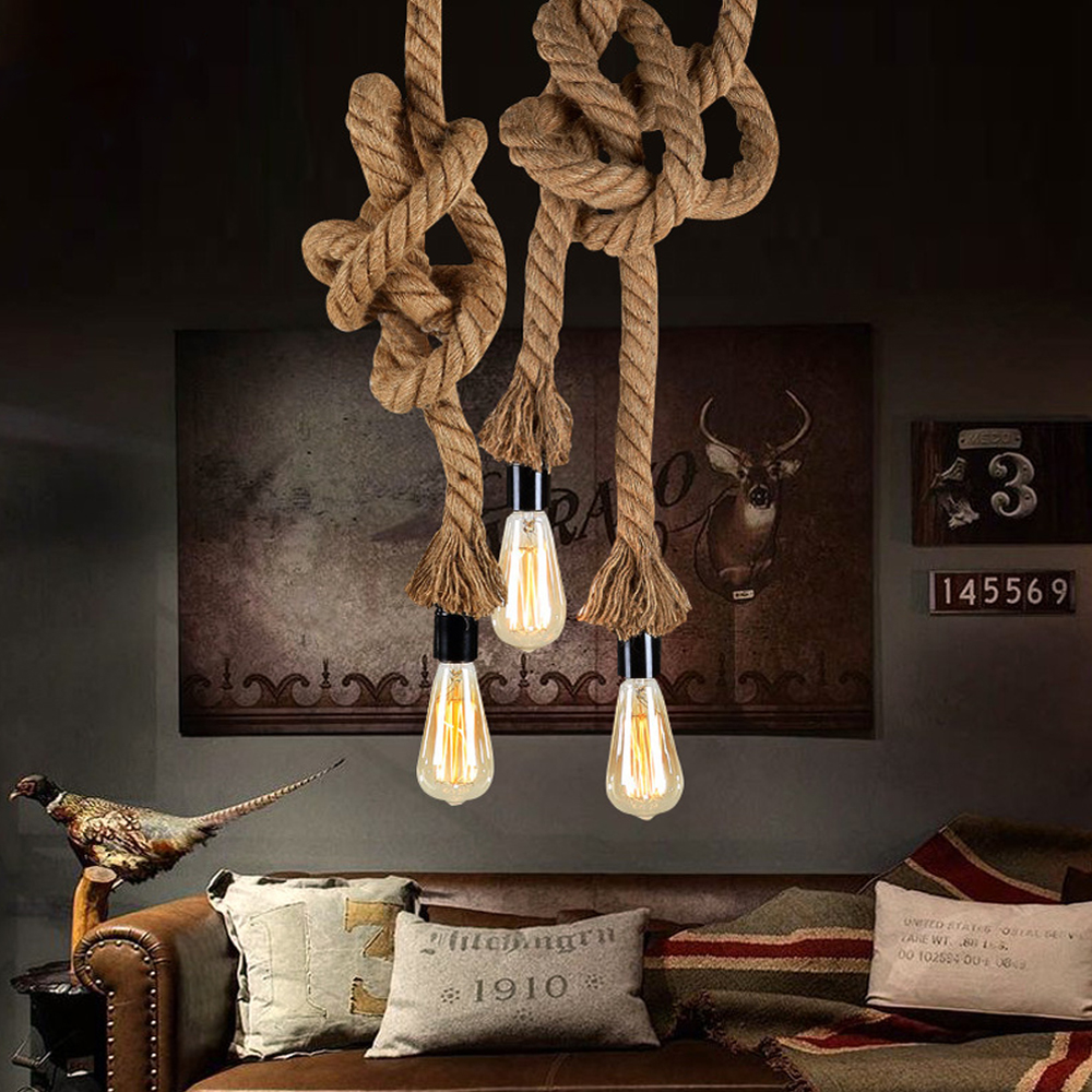 Vintage Hemp Rope Pendant Light AC90-260V E27 Loft Creative Personality Industrial Pendant Lamp for Restaurant Coffee