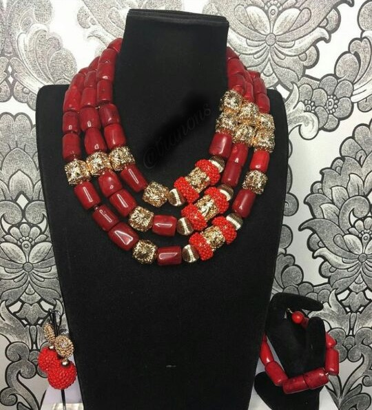 HTB19iF5BOCYBuNkHFCcq6AHtVXaK Big Real Coral Bead Traditional Nigerian Wedding African Coral Beads Jewelry Set Women Party Anniversary Gift Jewelry CNR885