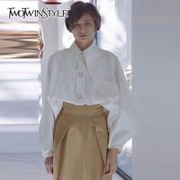 TWOTWINSTYLE Diamonds White Shirt For Women Lapel Collar Lantern Sleeve Oversize Blouse Spring Fashion Ladies OL
