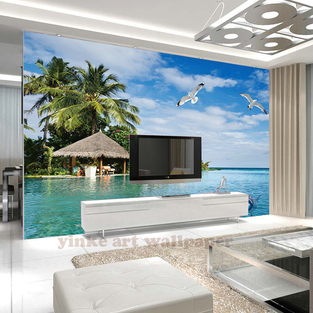custom printed 3d wall mural Summer Coconut Tree Seaside Scenery sea