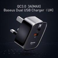 Baseus Carregador USB Duplo Para iPhone iPad Carregador Portátil REINO UNIDO Adaptador de Carregador de Parede plugue do Curso QC3.0 Dual USB USB Rápida carregador
