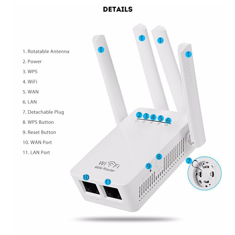Neue 300 Mbps Dual-Band 2,4/5g 4-Antenne WIFI Range Extender WiFi Repeater Router