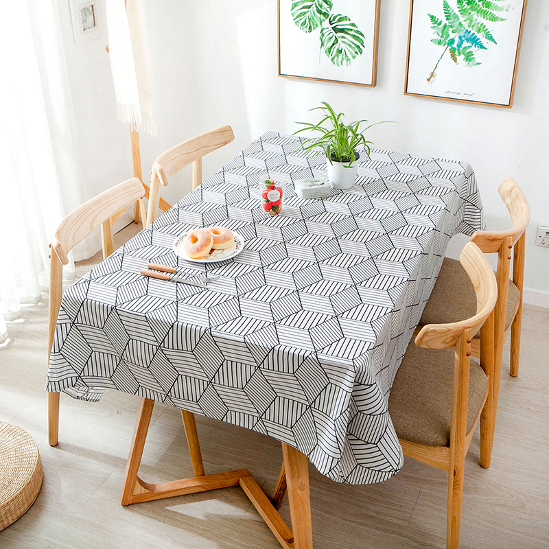 Cotton Linen Geometric Table Cloth Rectangle And Square