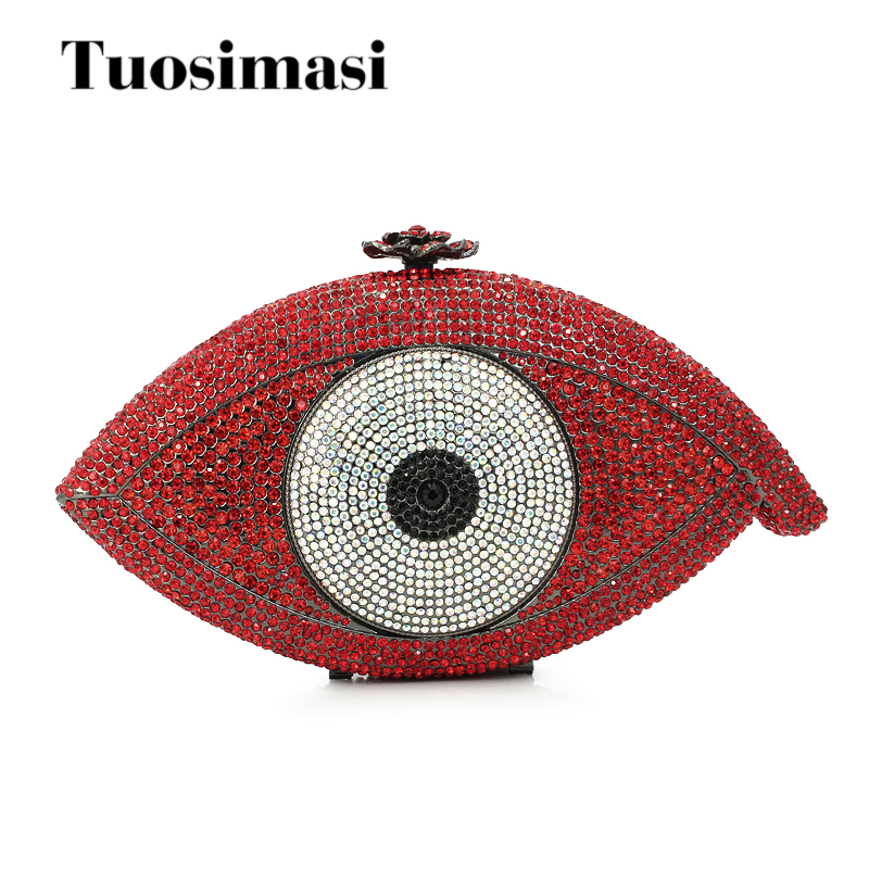 Ladies Crystal Evening Bag Luxury Diamond Clutch Purse Party Bags Red Eye Wedding Bride Handmade Day Clutches Prom Bag luxury pearl blue clutch evening bag purse party wedding bride clutches ladies crystal diamond rhinestone bag day clutches gifts