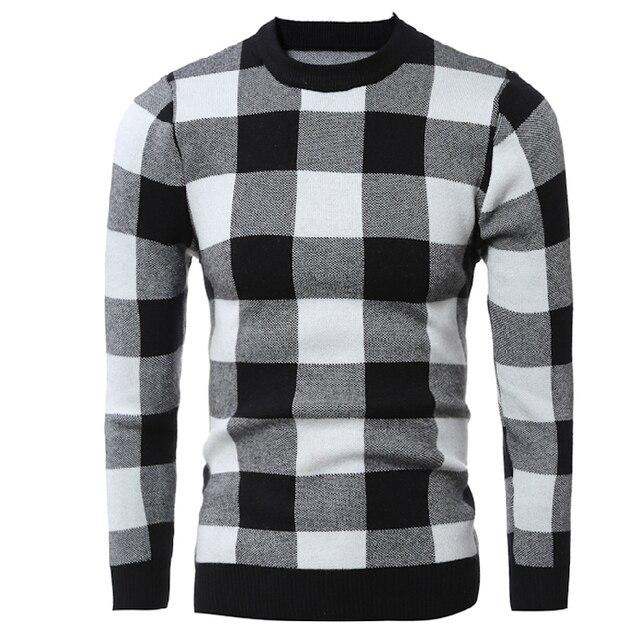 Мода 2016 зима плед мужские свитера мужской с длинным рукавом хорошее качество мужской пуловер свитер бренда размер 2xl