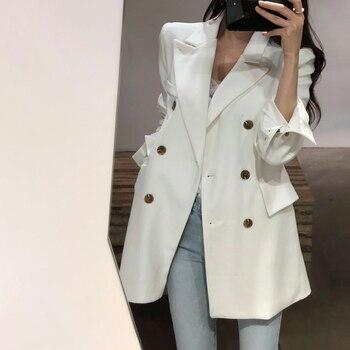 clientes primero vendible talla 7 Blazer largo mujer clásico doble Breasted manga larga traje chaqueta  bolsillos Blaser Femme blanco