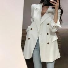 Long Blazer Women Classic Double Breasted Long Sleeve Suit Jacket Coat Pockets B