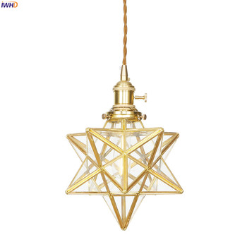 IWHD American Country LED Pendant Lamp Dinning Living Room Light Nordic Style Star Copper Glass Pendant Lights Fixtures Hanglamp iwhd american crystal vintage pendant lights living dinning room metal industrial lighting fixtures lamp lustres de cristal