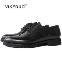 Vikeduo Classic Flower Block Handmade Luxury Wedding Party Shoes Business Black Brand Male Dress Genuine Leather