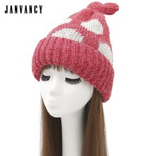 Herbst und Winter Nette Verknotet Big dot Gestrickte Mützen für Frauen Dicken Plüsch Warme Kappe Schnuller Samt Rosa Red Lustig hut Tuque(China)