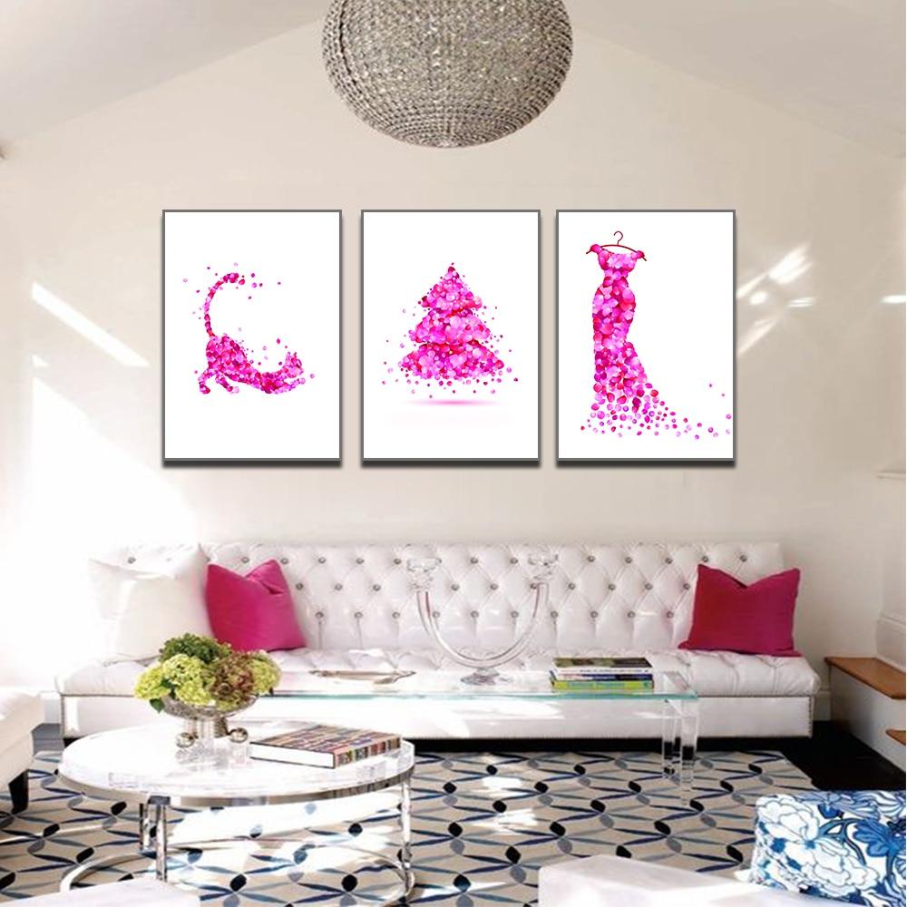Unframed HD 3 Art Paintings Creative Cartoon Animal Dog Decoration Painting Petal Combination Living Room Inkjet Mural