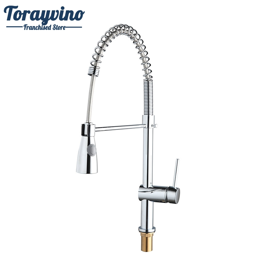 Torayvino Kitchen Faucet Chrome Polished Faucet Solid Brass Mixer Faucet Swivel Pull Down Spout Vessel Sink Mixer Tap kitchen faucet polished chrome water power kitchen faucet swivel spout pull down vessel sink mixer tap