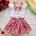 2016 fashion Girl's clothing set for summer Lace Sleeves White Shirt+High Waist Floral Skirt Baby Girls Children Suit 1-5 Years