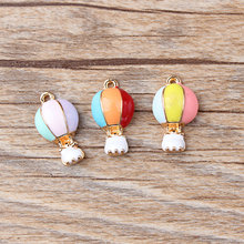 10pcs 10*18mm Balloon Enamel Charms Bracelet Alloy Finding Pendant Accessories Tricolor Hot Air YZ063