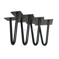 Free Shipping 6 Table Feet Matte Black Two Rod Hairpin Table Legs Set Of 4 Vintage