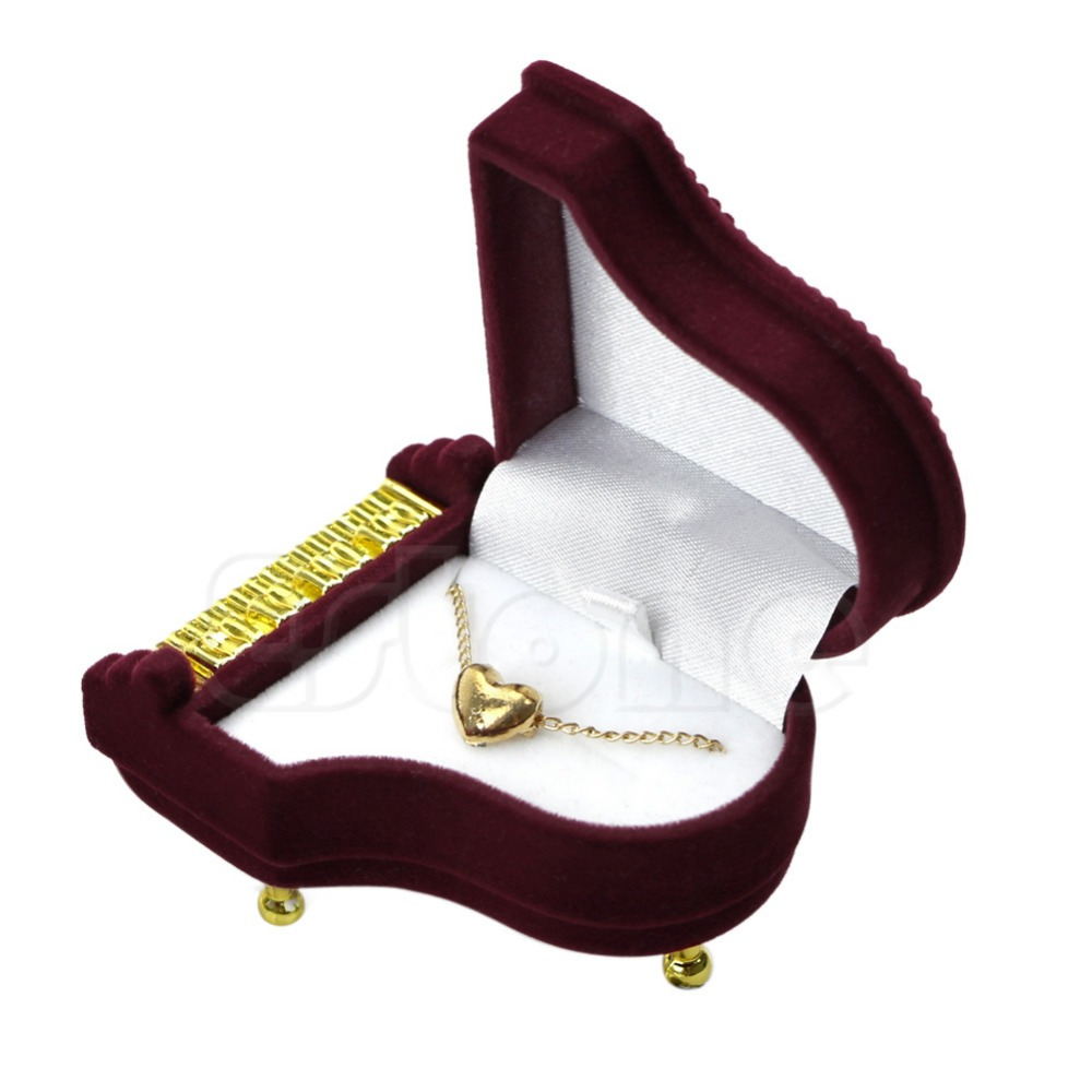 Wine Red Velvet Jewelry Box Beautiful Piano Ring Box Earring