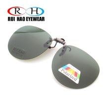 Óculos de sol unissex com clipe redondo, óculos polarizados para dirigir, marca de homens e mulheres
