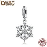 BAMOER Venda Hot Genuine 925 Sterling Silver Sparkling CZ Snowflake Dangle Charme fit Mulheres Charm Bracelet Jóias SCC266
