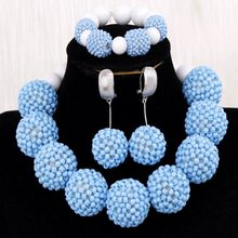 Jewellery Dubai Sea Blue Crystal Balls Women Jewelry Set Handmade Antique Beads Set Bracelet Earrings Necklace Set 2019 Indian(China)