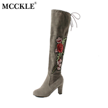 MCCKLE Woman Winter Thigh High Boots Exquisite Embroidery Flower Faux Suede High Heels Over The Knee Shoes Plus Size 34-43