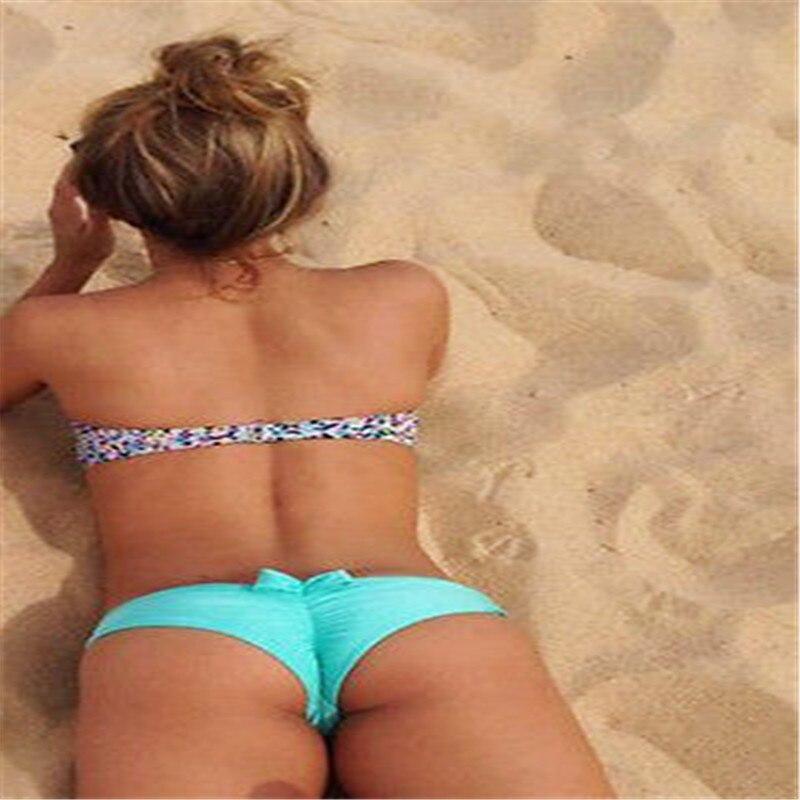 2017Summer Sexy Bow Back Bikini Bottoms Women Brazilian Cheeky Swimsuit Thong Bottom Beach Swimwear Bowknot Beachwear Bathing
