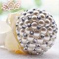 5 colores de Alta Calidad Gorgeous Marfil Perla Wedding Bouquets Buque De Noiva Crystal Ball-Flor de La Boda Accesorios Adornos