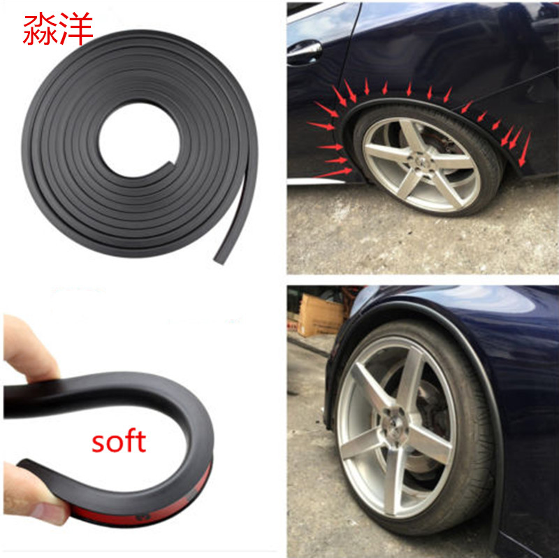 soft Car Fender Flare Extension Wheel Eyebrow Protector Lip Wheel-arch Trim Wheel Eyebrow Arch Decorative Strip Car Tires Eyebr 1 5m carbon fiber high strength wheel eyebrow arch decor strip car tires eyebrow for round rubber car protect sticke