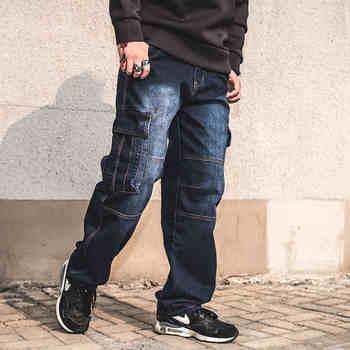 Mens Straight Denim Cargo Pants Moto Biker Jeans Men Baggy Loose Blue Jeans With Side Pockets Plus Size Jean Hombre 40 42 44 46 цена 2017