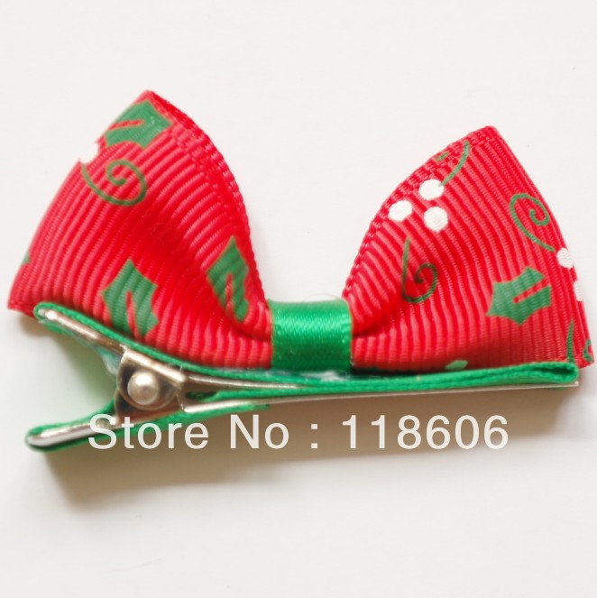 250pcs/lot Christmas Girl Hair Bow,Child Hair Barrettes for Christmas Gift Free Shipping
