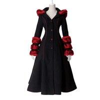 2015 New Pyon Pyon Lolita Winter Womens Coat Jakcet Reversible Goth Punk Kera Long Dress Hoodie