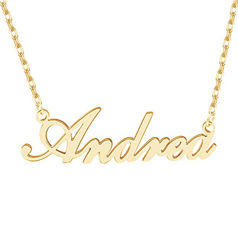 US $7 1 20% OFF|314L Stainless Steel Gold Personalized Custom Name Pendant  Necklace Customized Cursive Nameplate Necklace Handmade Birthday Gift-in