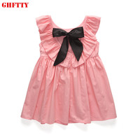 GHFTTY Baby Girl Dress Summer Style Girls Deep V Collar Butterfly Knot Lotus Leaf Pleated Dress Girl Clothing Dresses For Girl