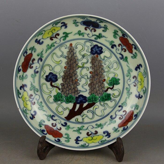 Assiette en porcelaine de 6 antiquités   Plat à raisin de couleur, artisanat peint à la main, décoration, Collection et ornement