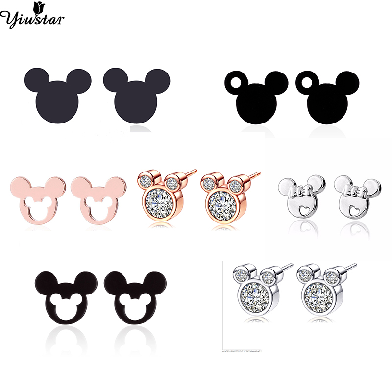 Yiustar Mini Mouse Earing Tiny Mickey Earrings For Women Kids Earring Small Animal Ear Studs Pendientes Cartoon Movie Jewelry