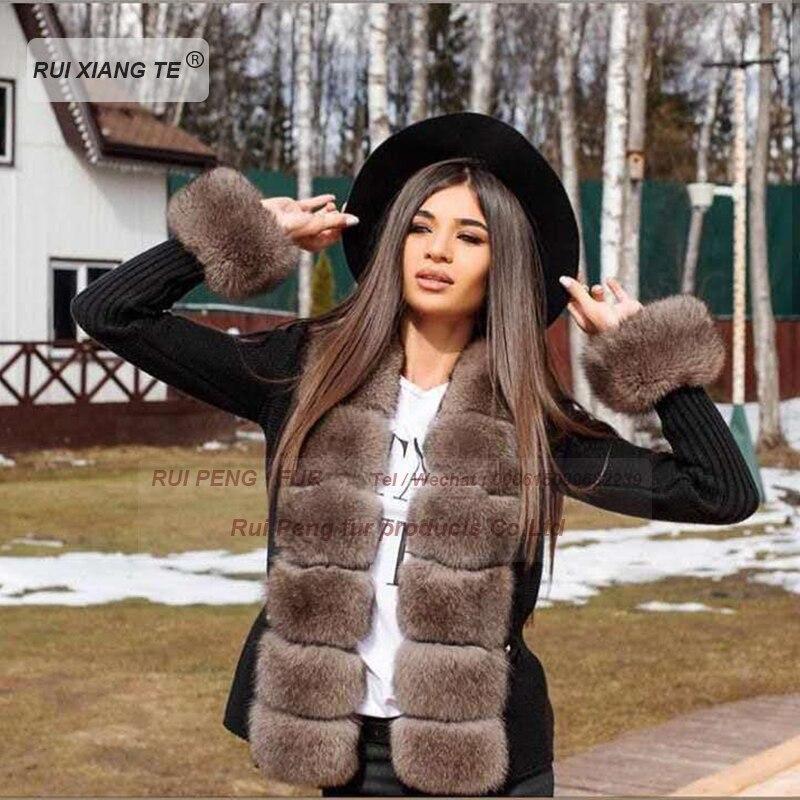 New Trends Women Real Fur Coat Woolen Knitting With Fox Collar Warm Winter Coat Real Fox Fur Coat Winter Outerwear