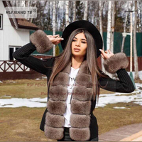 New trends women real fur coat woolen knitting with fox collar warm winter coat real fox fur coat winter outerwear
