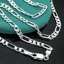 Atacado! Colar com corrente de joias, corrente de joias da moda, colar de prata 925, figaro de 4mm, width16-24 polegadas