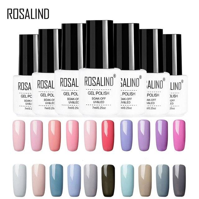 ROSALIND Gel varnish hybrid Nail Art Gel Primer Top Coat Vernis Semi Permanent Soak off UV White Bottle Colors Gel Nail Polish