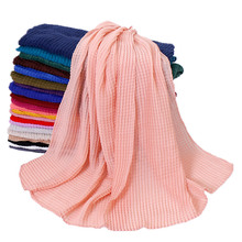 Hot Sale Women Pleated Cotton Viscose Scarf Wrinkle Crinkle